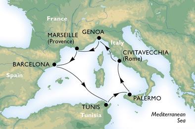 مسار رحلة الكروز سفينة MSC Splendida
